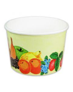Eisbecher, Pappe - Hartpapier-Eisbecher bedruckt mit Früchte-Motiv - 140ml