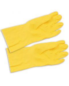 Gummi-Handschuhe, gelb, baumwollgefütterter Haushaltshandschuh, allergiearm, lang - Mittel