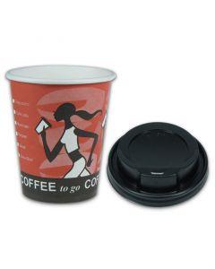 """ACTIE - Coffee-to-go-koffiebekers """"Coffee Grabbers"""" - 8oz, 200 ml, Kartonnen beker met zwart deksel"""