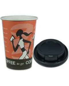 "SPARSET - Coffee To Go Kaffeebecher ""Coffee Grabbers"" - 10oz, 250ml, Pappbecher mit schwarzem Deckel"