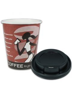 "VOORDEELSET - Coffee-to-go koffiebekers ""Coffee Grabbers"" - 12oz, 300 ml, kartonnen bekers met zwarte deksel"
