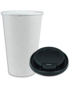 VOORDEELSET - Coffee-to-go-koffiebekers wit - 16oz, 400 ml, kartonnen bekers met zwarte deksel