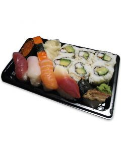 Sushi Verpackung inklusive Deckel, Sushi-Box To Go-Tray, schwarz, groß