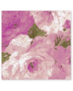 Tissue-Servietten, 40x40 1/4-Falz 3-lagig, Rosendekor - bedruckte Motivserviette - aubergine-grün