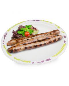 Chinet Teller, Holzguß, Ø 24cm rund, Einweg-Partyteller mit Randdekor, kompostierbar