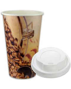 "SPARSET - Coffee To Go Kaffeebecher ""Coffee Beans"" - 16oz, 400ml, Pappbecher mit weißem Deckel"