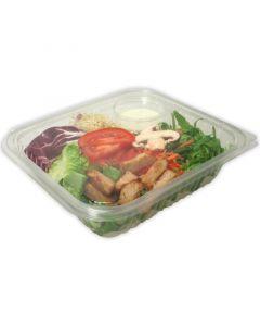 Saladebakjes PET met vakje voor de dressing, aanhangende deksel - 1100 ml