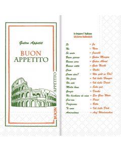 """Tissue-servetten, 40x40 cm 1/8 vouw, 2-laags, celstofservetten """"Ich lerne Italienisch"""""""