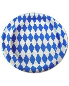"""Pappteller rund KU23 """"bayerische Raute"""", Partyteller blau-weiß Bayern bedruckt Ø 23cm"""