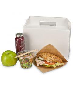 Lunchbox mit Griff - weiße Pappbox, 265x128x180mm