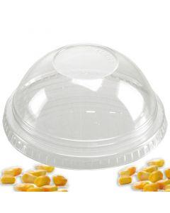 PLA Bolvormige deksels voor composteerbare smoothiebekers, gesloten, zonder gat, 12/20oz Ø 92 mm