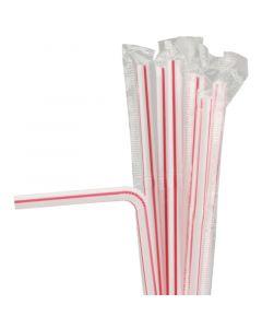 Rietjes, plastic, flexibel, afzonderlijk verpakt - 21cm, Ø 6mm - rood-wit gestreept