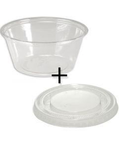 KOMBI - Deli Gourmet Container (Dessertbecher) - 5oz/120ml - PET mit flachem Deckel (geschlossen)