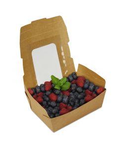 BioPak Foodcase - Snackbox mit Sichtfenster, beschichtet, braun - 750ml