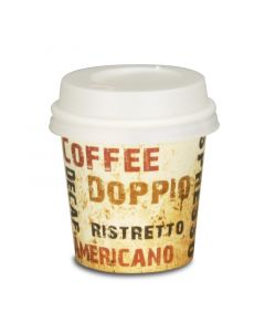 """SPARSET - Coffee To Go Espressobecher """"Barista"""" - 4oz, 100ml, Pappbecher mit weißem Deckel"""