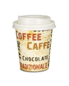 "VOORDEELSET - Coffee To Go koffiebekers ""Barista"" - 8oz, 200ml, kartonnen bekers met witte deksel"