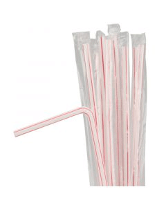 Rietjes, plastic, flexibel, afzonderlijk verpakt - 21cm, Ø 5mm - rood-wit gestreept
