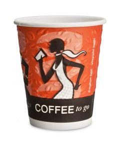 "Doppelwand Kaffeebecher ""Coffee Grabbers"" 8oz, 200ml - mit PRÄGEDRUCK"