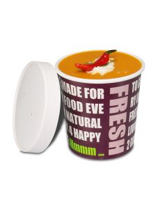 "Soup To Go-Container ""Fresh to go"", Pappbecher mit Dampfdeckel für Suppenbars - 16oz/400ml"