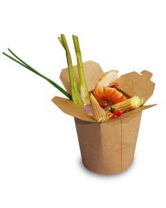 SmartServ-Box - runde Faltbox Pappe braun - 16oz/500ml für Pasta, Döner, Asia