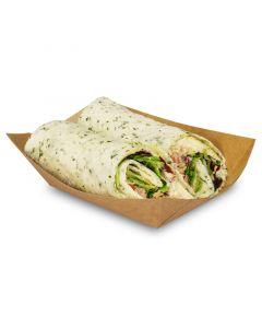 Foodtray aus Recycling-Papier (kompostierbar), braune Snackschale - 125x75x45mm