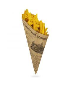 """Papieren puntzakken voor patat 19 cm 125 g,krantenmotief """"Lekkerbekken"""""""