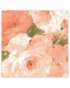 Tissue-Servietten, 40x40 1/4-Falz 3-lagig, Rosendekor - bedruckte Motivserviette - apricot-grün