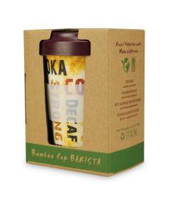 """Mehrwegbecher aus Bambus, Kaffeebecher """"Barista"""" mit Deckel und Silikonmanschette - 400ml, 1 Stück"""
