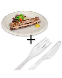 """SPARPAKET - Bagasse Menüteller """"Eco-Friendly"""", Ø22cm rund + Kunststoff-Besteck """"Premium Catering"""""""