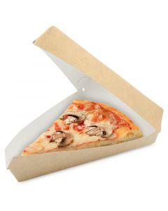 Pizzakarton mit Deckel und Sichtfenster für dreieckige Pizzastücke (US Pizza Slice Box), braun