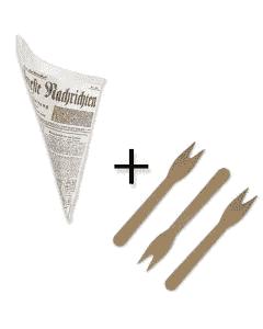 """SPARPAKET - Snack-Spitztüten fettdicht 19cm - """"Zeitungsmotiv"""" inklusive Pommesgabeln aus Holz"""