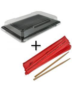 SPARPAKET - Sushi Verpackung, schwarz inklusive Deckel + Essstäbchen aus Bambus