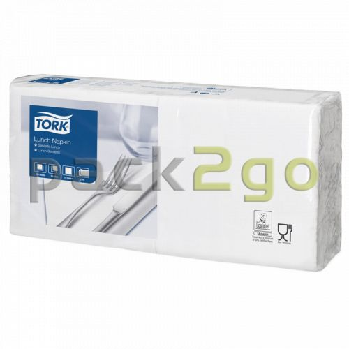 Tork Advanced Tissue-Servietten, 33x33 1/4 Falz, 2-lagig - weiß - Zellstoffservietten (477149)