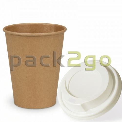 SPARSET - Coffee To Go Recycling Kaffeebecher - 8oz, 200ml, Kraftpapierbecher mit weißem Deckel