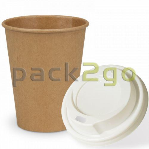 SPARSET - Coffee To Go Recycling Kaffeebecher - 12oz, 300ml, Kraftpapierbecher mit weißem Deckel