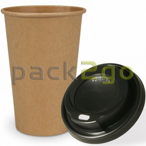 SPARSET - Coffee To Go Recycling Kaffeebecher - 16oz, 400ml, Kraftpapierbecher mit schwarzem Deckel