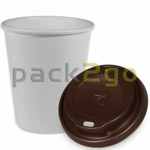 SPARSET - Coffee To Go Kaffeebecher weiß - 12oz, 300ml, Pappbecher mit braunem Deckel