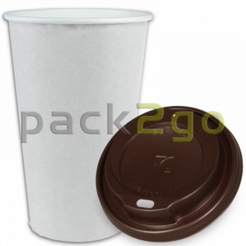 SPARSET - Coffee To Go Kaffeebecher weiß - 16oz, 400ml, Pappbecher mit braunem Deckel