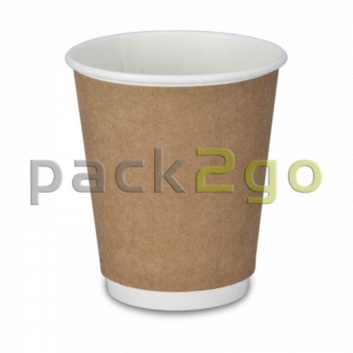 Doppelwand-Kaffeebecher, Recycling, Coffee to go Becher braun - 8oz, 200ml