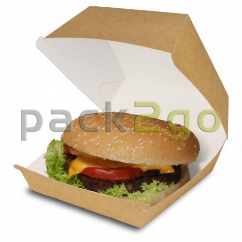 Burgerbox mit Klappdeckel braun - große Hamburger-Box aus Bio-Pappe