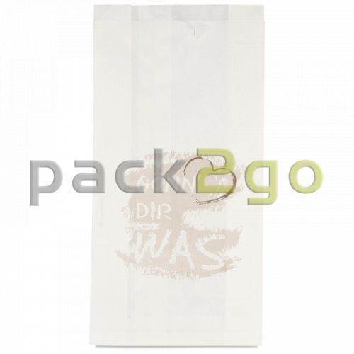 Bäckerfaltenbeutel 422, Bäckertüten weiß Kraft bedruckt -