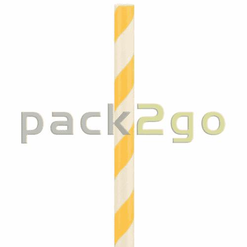 Kompostierbare Bio-Trinkhalme, Strohhalm aus Papier, starr - 22cm, Ø6mm - orange/weiß