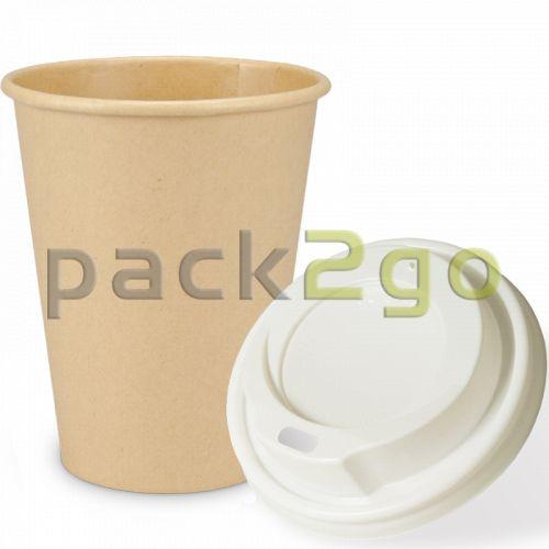 """SPARSET - Coffee To Go Kaffeebecher """"Natur"""" - 12oz, 300ml, Pappbecher mit weißem Deckel"""