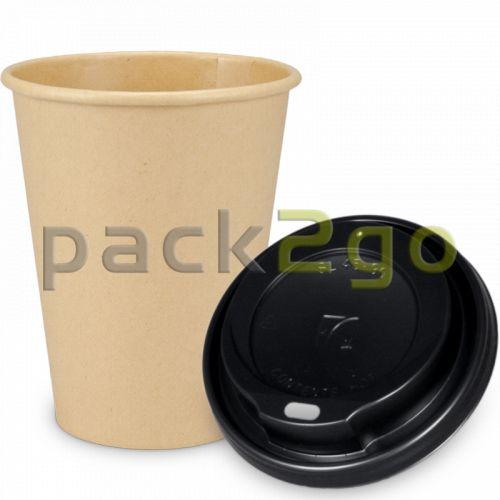 """SPARSET - Coffee To Go Kaffeebecher """"Natur"""" - 12oz, 300ml, Pappbecher mit schwarzem Deckel"""