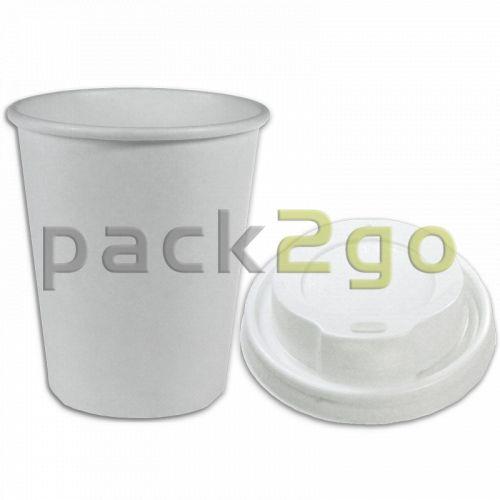 SPARSET - Coffee To Go Kaffeebecher weiß - 8oz, 200ml, Pappbecher mit weißem Deckel
