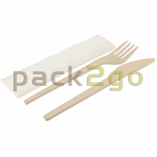 Kompostierbares Einweg-Besteckset - Gabel, Messer, Serviette einzeln verpackt (Besteck aus CPLA)