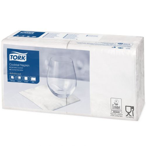 Tork advanced tissue-servetten, 24 x 24 1/4, 2-laags, Celstofservetten - wit