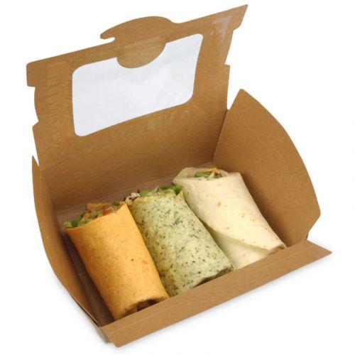 BioPak Foodcase - snackbox met venster , gecoat, bruin - 1300ml