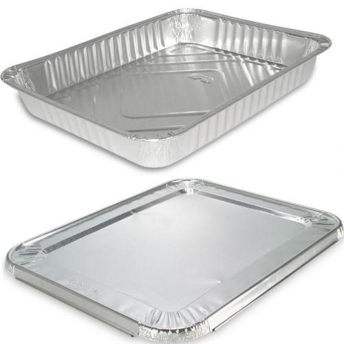 Aluminium schalen, rechthoekig incl. deksel - 227x x 177x30 mm, aluminium bakjes voor menu's