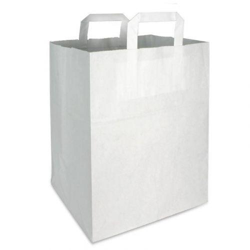 Papiertragetaschen 22+11x28cm - Kraft weiß, umweltfreundlich